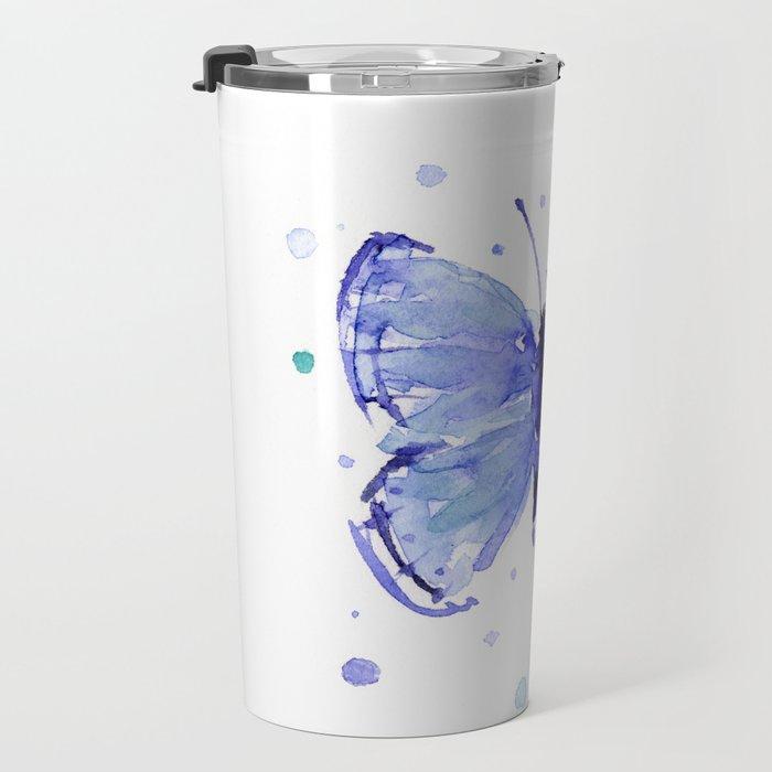 Dark Blue Butterfly Watercolor Travel Mug