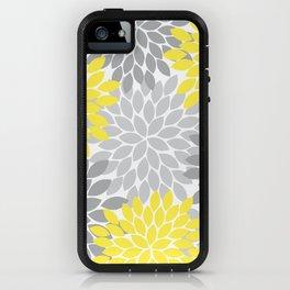 Yellow Gray Flower Burst Petals Floral Pattern iPhone Case