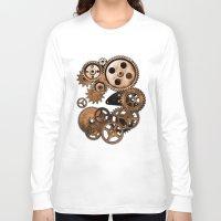 steam punk Long Sleeve T-shirts featuring Steam Punk Gears by GrimDork