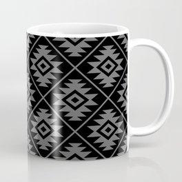 Aztec Symbol Pattern Gray on Black Coffee Mug