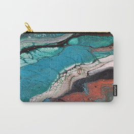 Go For Broke 3 - Turquoise Copper Green Black Fluid Art Marble Liquid Stone Carry-All Pouch