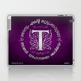 Joshua 24:15 - (Silver on Magenta) Monogram T Laptop & iPad Skin