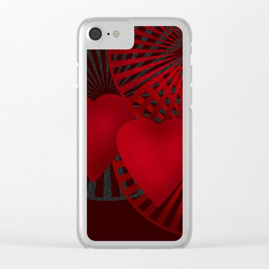 Love. The loving hearts .Black background . Clear iPhone Case