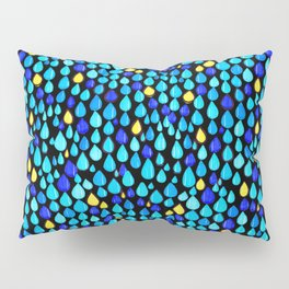 Drops of rain in Town #Graphic #Colorful #Blue #Pattern Pillow Sham