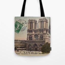Notre Dame Cathedral, Paris - 1915 postcard ephemera Tote Bag