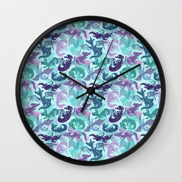 Blue Dragons Wall Clock