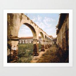Mission San Juan Capistrano courtyard ruins (c. 1899) Art Print