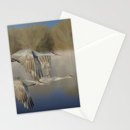 Morning Flight in Fog over Open Water, Canadian Cranes portrait painting by John Fowler Stationery Cards