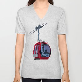 Aspen Colorado Ski Resort Cable Car Unisex V-Neck