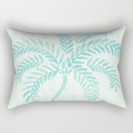 Mint Tropical Palm / Watercolor Collage Rectangular Pillow