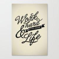 work hard Canvas Prints featuring Work Hard by Sebastián Andaur