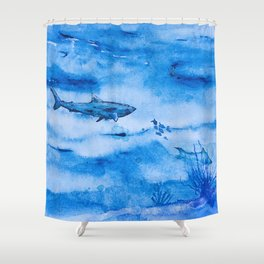 Great white in blue Shower Curtain
