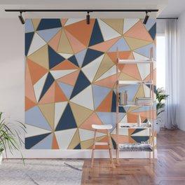 Festive, Geometric Art, Orange, Navy, Blue, Gold, Abstract Art Wall Mural