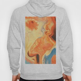 Fluid Nature - Orange Vapours - Abstract Acrylic Pour Art Hoody