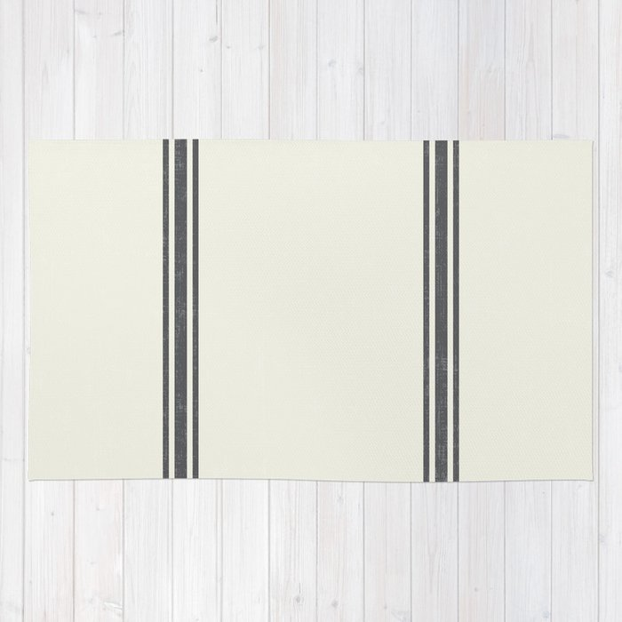 Grey Stripes On Creme Background French Grainsack Distressed Country Farmhouse Rug
