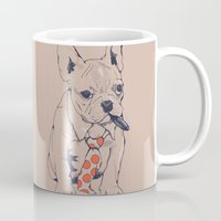french Mugs featuring FRENCH BULLDOG BOSS by Huebucket