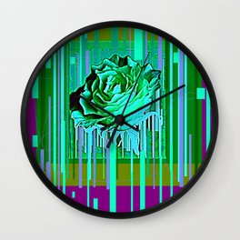 Green-Purple Fantasy Green Rose Abstract Wall Clock