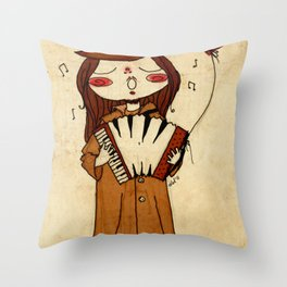 Accordion and Red Balloon Throw Pillow