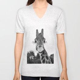 Giraffe. B+W. Unisex V-Neck