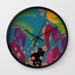 Black Cat In The Outside World Wall Clock