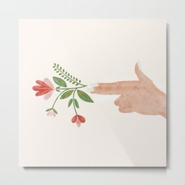 Floral Pistol Metal Print