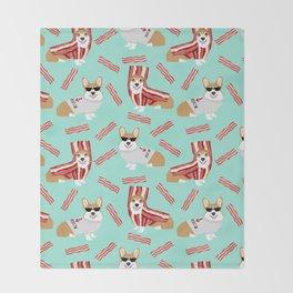 Corgi Bacon art print cute corgis dog bacon food corgis pillow funny bacon design Throw Blanket