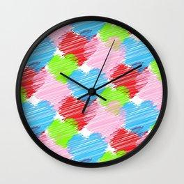 Colorful Hearts Wall Clock