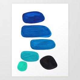 Colorful Mid Century Modern Pop Art Minimalist Style Teal Blue Aquamarine Bubbles White Background Art Print