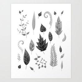 Leaves Black and White Art Print