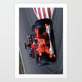 Sketch of F1 Champion Michael Schumacher - year 2000 car F1-2000 - Vertical Art Print
