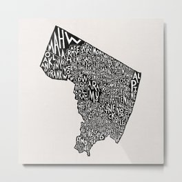 Bergen County, New Jersey Map Metal Print