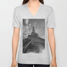 Black and White Eiffel Tower Unisex V-Neck