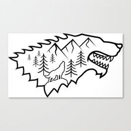 Wolf/Mountains Scene Canvas Print