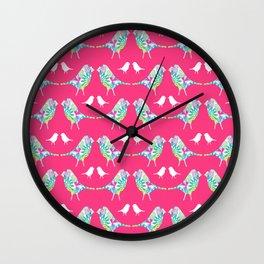 Pink Bird Print Wall Clock