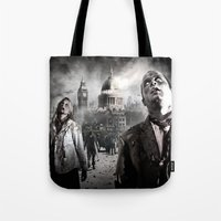 zombies Tote Bags featuring Zombies by Joe Roberts