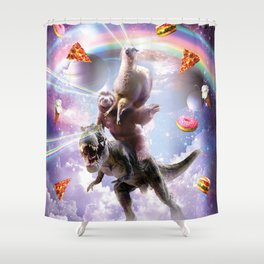 Laser Eyes Space Llama On Sloth Dinosaur - Rainbow Shower Curtain