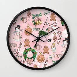 THE VERY PINK CHRISTMAS WATERCOLOR PATTERN Wall Clock