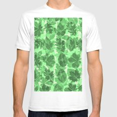 Green Leaves White MEDIUM Mens Fitted Tee