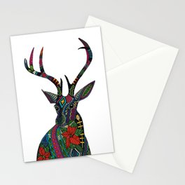 poinsettia deer white Stationery Cards