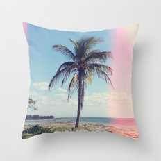 Palm Tree Light Leak Color Nature Photography Throw Pillow