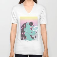 sea horse V-neck T-shirts featuring SEA HORSE by MujerCiervo