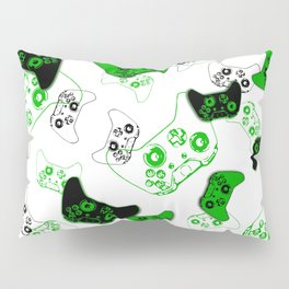 Video Game White and Green Pillow Sham