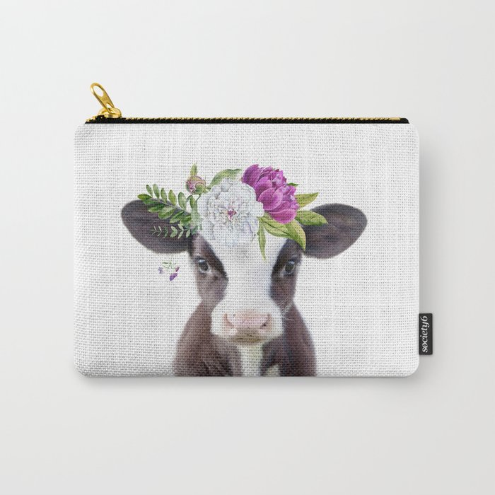 Baby Cow with Flower Crown Carry-All Pouch