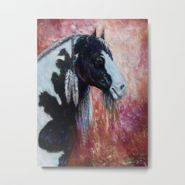 Prairie Horse Spirit my Oil Painting with a Palette Knife Metal Print