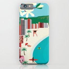 Oahu, Hawaii - Skyline Illustration by Loose Petals iPhone Case
