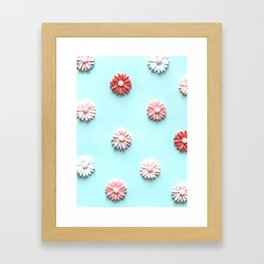 Pretty Pink Flower pattern on Blue Framed Art Print
