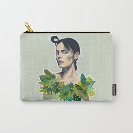 tropical beauty // the girl with the jungle leaf shirt Carry-All Pouch