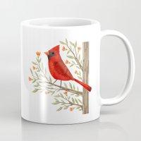 cardinal Mugs featuring Cardinal by Stephanie Fizer Coleman