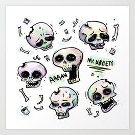 Anxiety Skulls Art Print