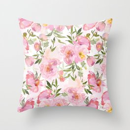 Scandi Pink Hand Drawn Watercolor Spring Flowers  Throw Pillow